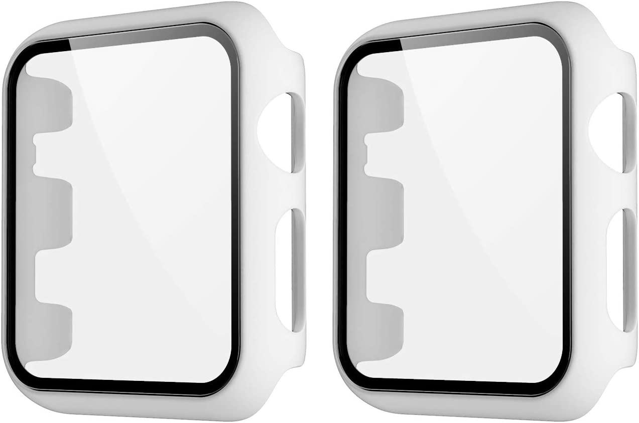 HANKN 2 Pack Matte Case Compatible with Apple Watch Series 3 2 1 38mm Tempered Glass Screen Protector, Full Coverage Hard Pc Shockproof Iwatch Cover Bumper (White+White, 38mm)