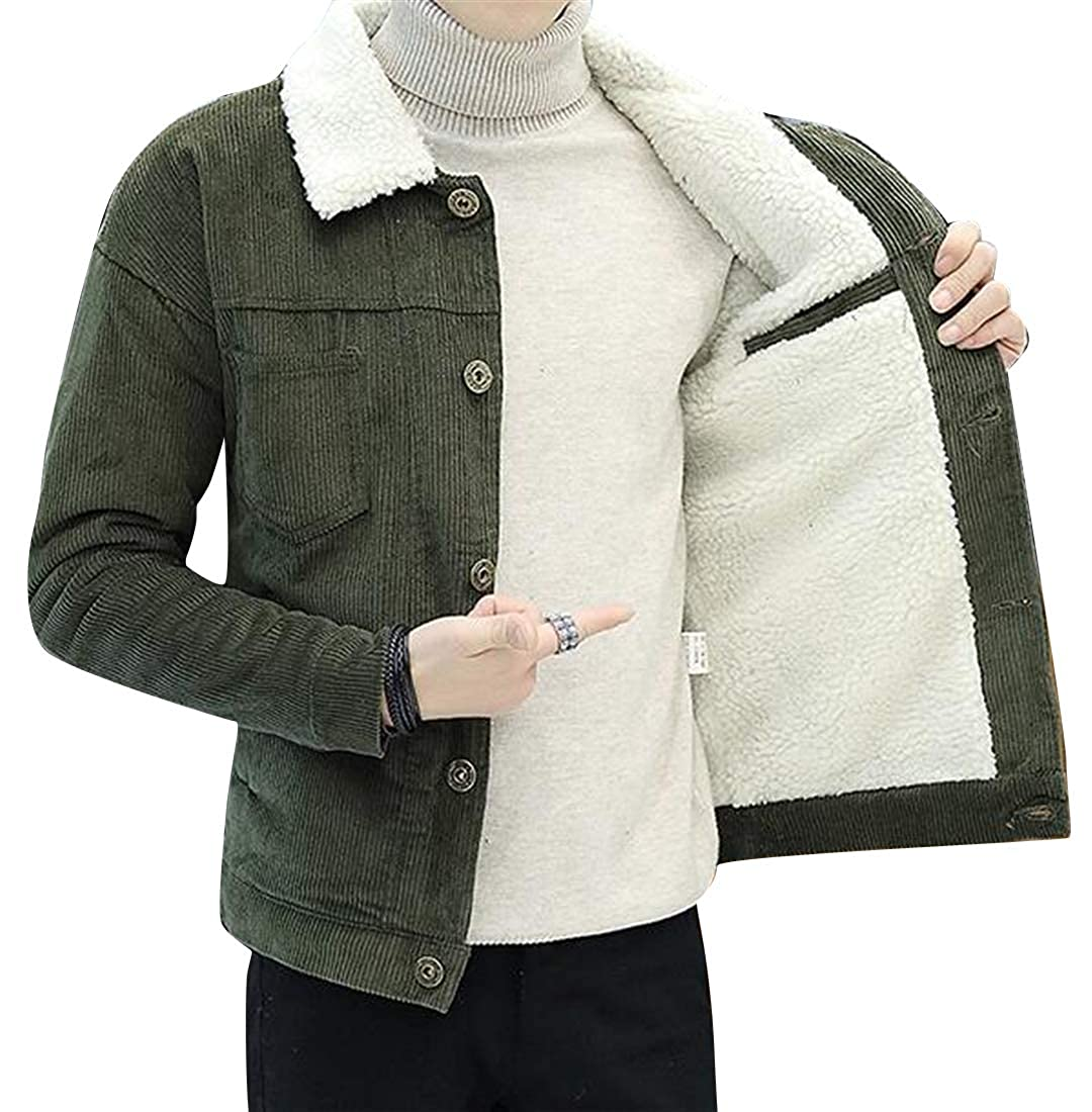 BOBOYU Men Lamb Cashmere Lined Winter Warm Corduroy Solid Quilted Jacket Coat Outerwear