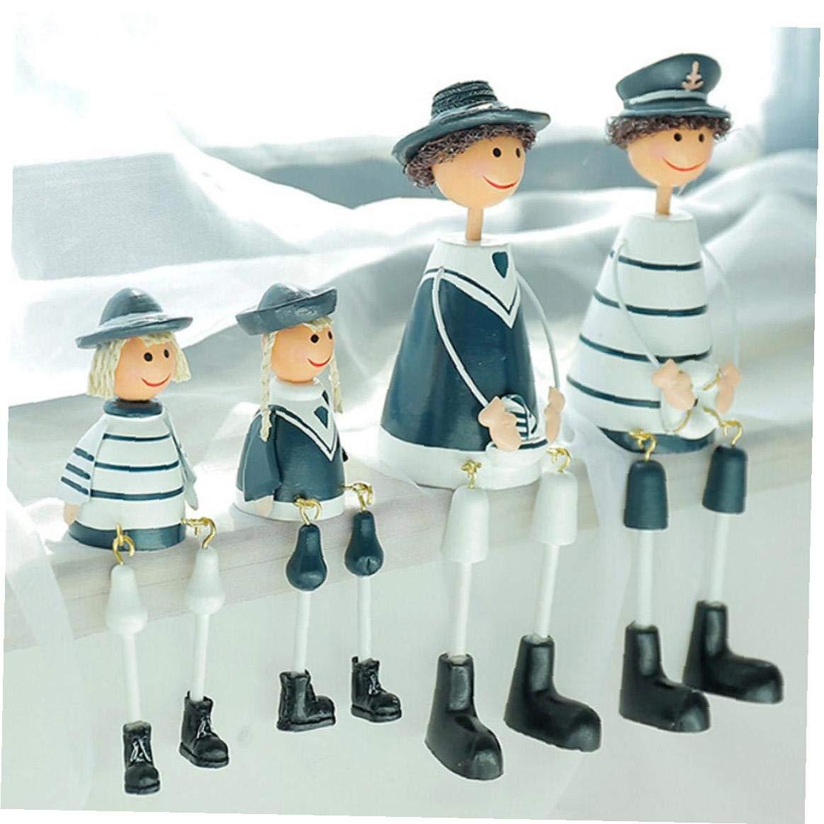 IUwnHceE 4pcs Set del Buque De Guerra Marinero Armada Mediterr/ánea Figurines Sentado Familia Marinero Estatua Resign HPainted Estatua Ornamento del Regalo para La Casa Oficina Exterior Sala
