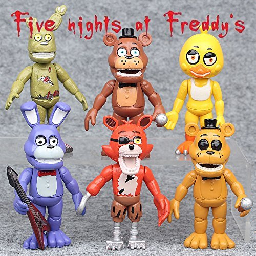 gg 6 PCS FNAF Five nights at Freddy's Game Action Figures Doll Kid (Halloween Pranks Pizza Box)