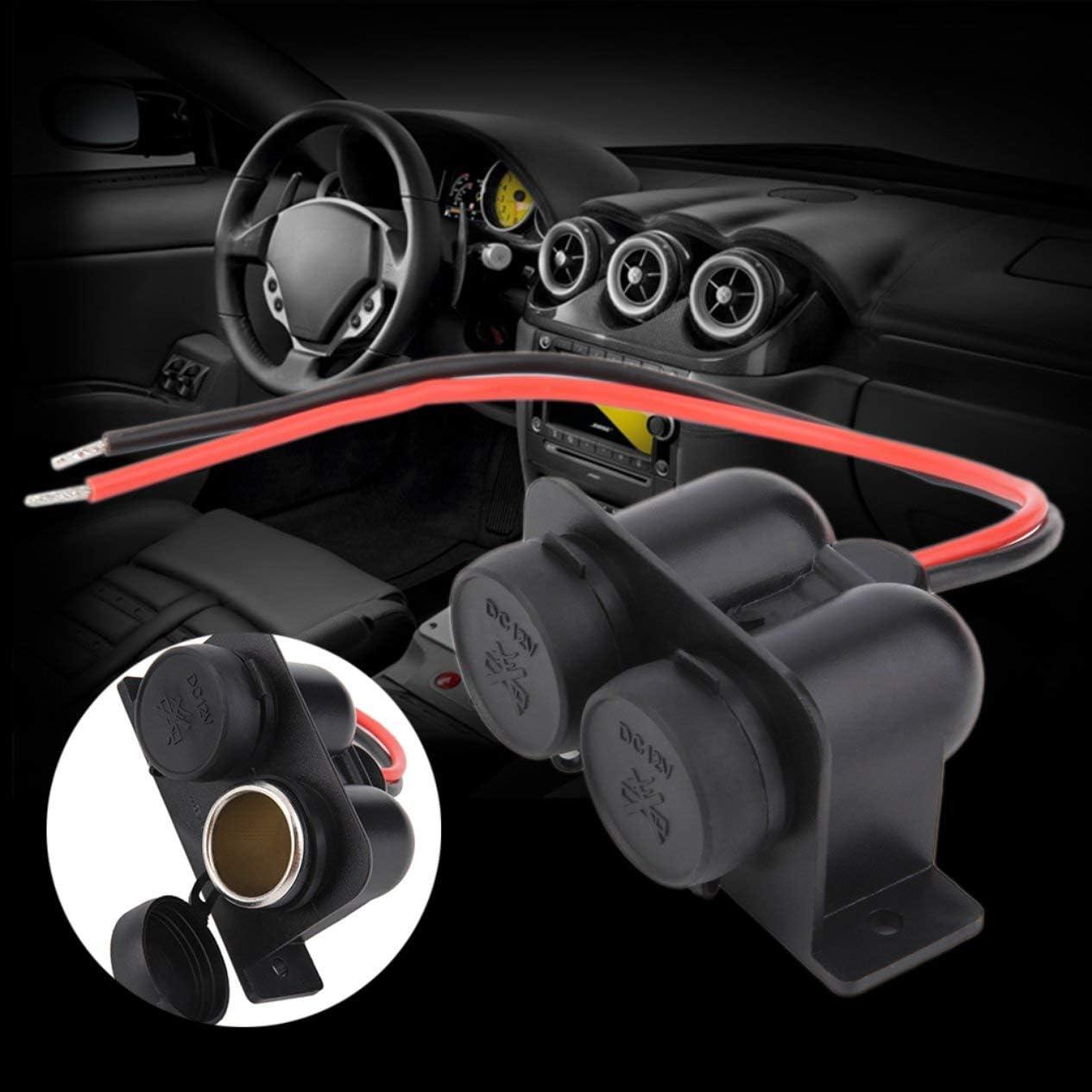 noir) Double ports /étanche moto voiture allume-cigare prise de courant 12V v/éhicules chargeur accessoire automatique BCVBFGCXVB
