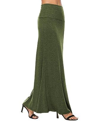 e384b2a22b YiLiQi Women's Lightweight Floor Length Fish Tail Folding Stylish Maxi Skirt  Army Green-S