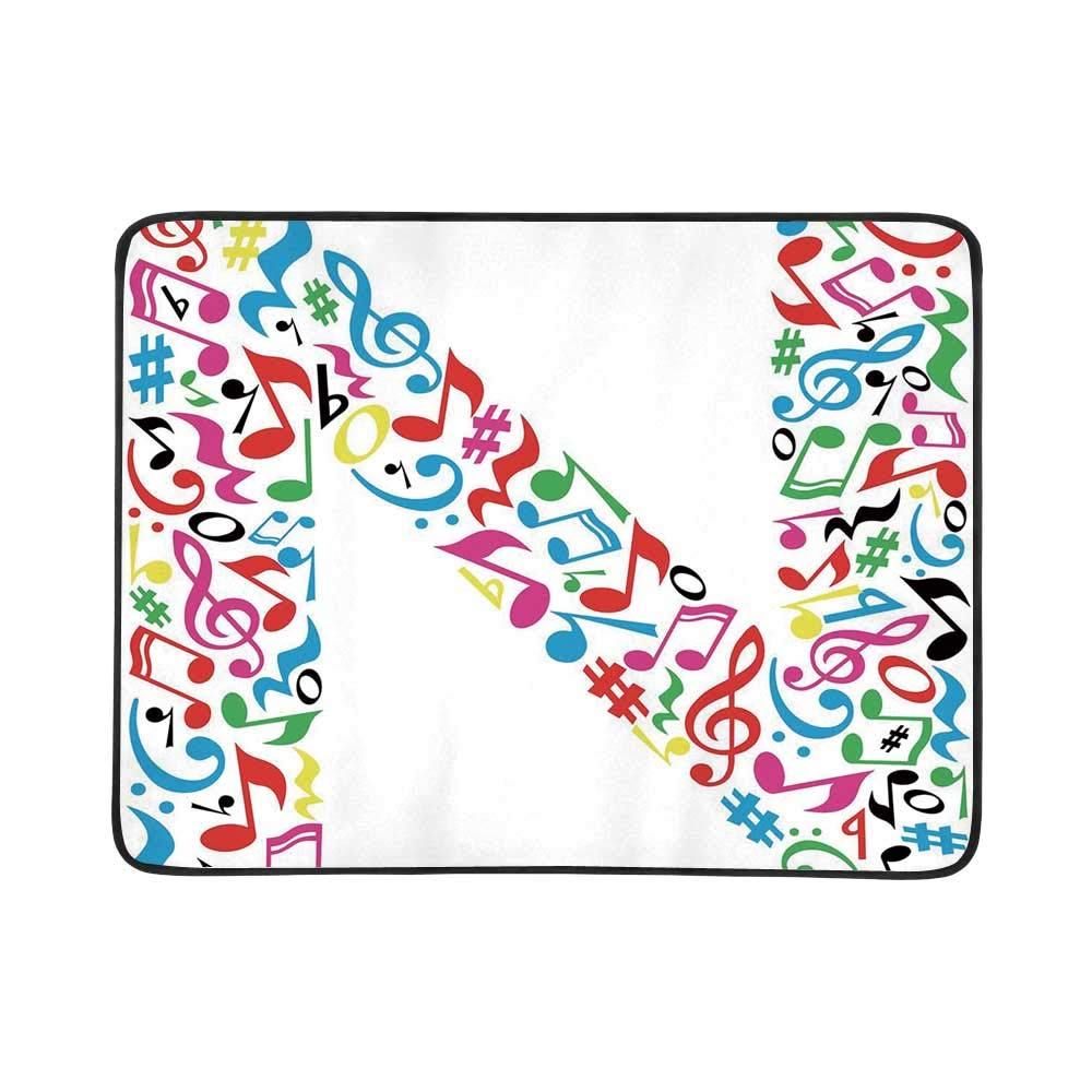 YOLIYANA Letter N Utility Beach Mat,Vivid Colored Major Minor Notes in Abstract Writing Symbol Capital N Image Print Decorative for Home,One Size by YOLIYANA