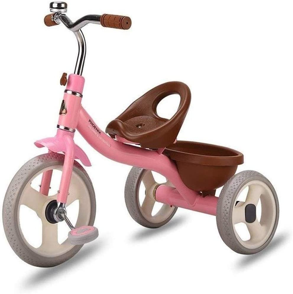 Triciclo Luz Cabrito Cochecito del Triciclo Niños multifunción Bicicleta 1/2/3/4/5/6 Años de Edad niños 2 Color,Rosado