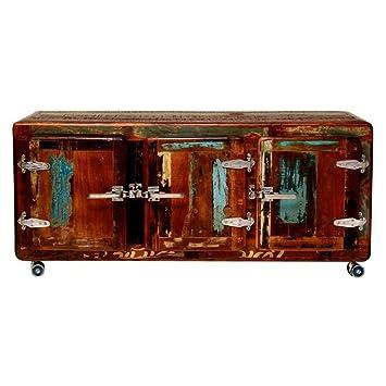 TV-Schrank Lowboard TV-Board Moos mit Rollen, Vintage Bunt, Holz ...