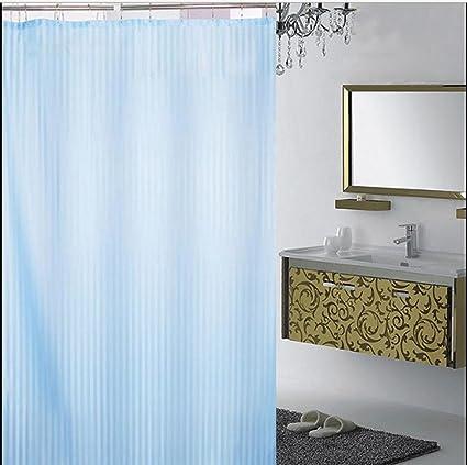 Yellow Weaves PVC Blue Self Stripes Plain Shower Curtain 54X84 Inches 8 Hooks