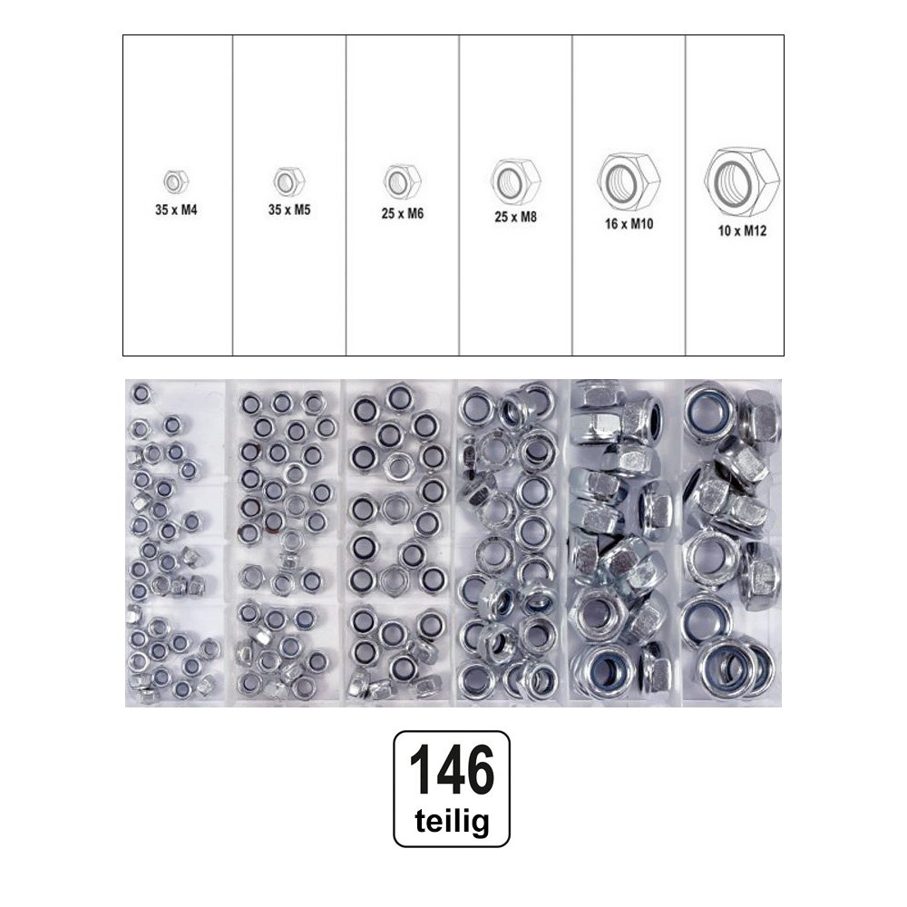 Yato yt-06774  –   146  PCS Self Locking Nuts Assortment