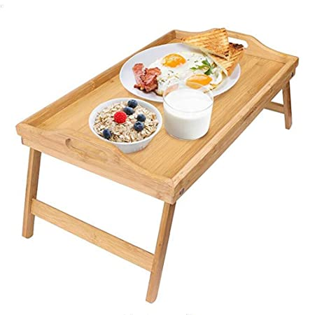 YANFEI Mesa de Desayuno Plegable de bambú, Escritorio del ...
