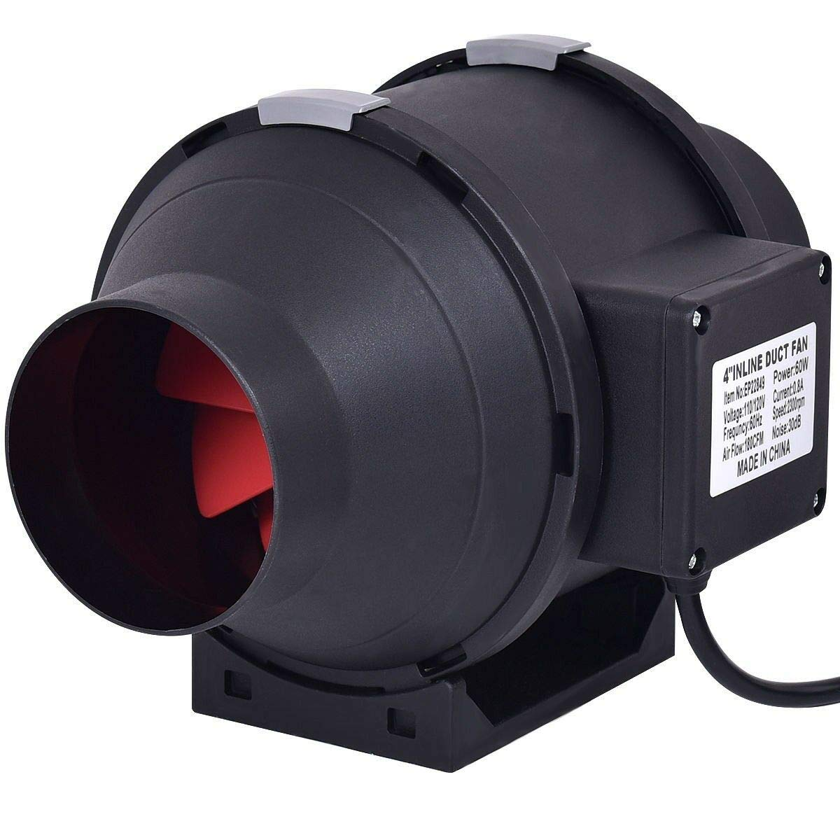 AK Energy 4'' Inline Air Duct Cooling Ventilation Circulation Booster Blower Fan Unit Quiet