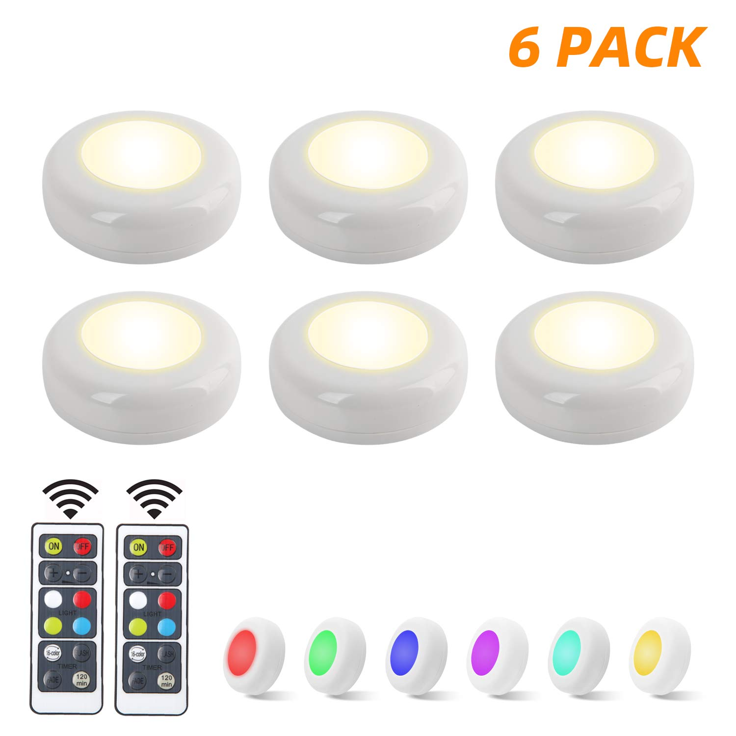 YLCVBUD 6 Pack RGB Under Cabinet Lighting LED Closet Lights Wireless LED Puck Lights 16 Colors 3 Modes with Remote Control Timer Function Battery Powered Dimmable only White