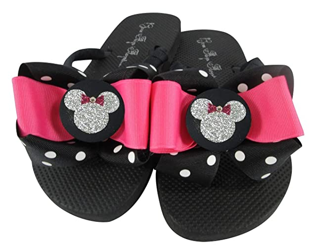 434f62780 Amazon.com  Hot Pink and Polka Dot Disney Flip Flops with Sparkly Minnie  Mouse Face  Handmade