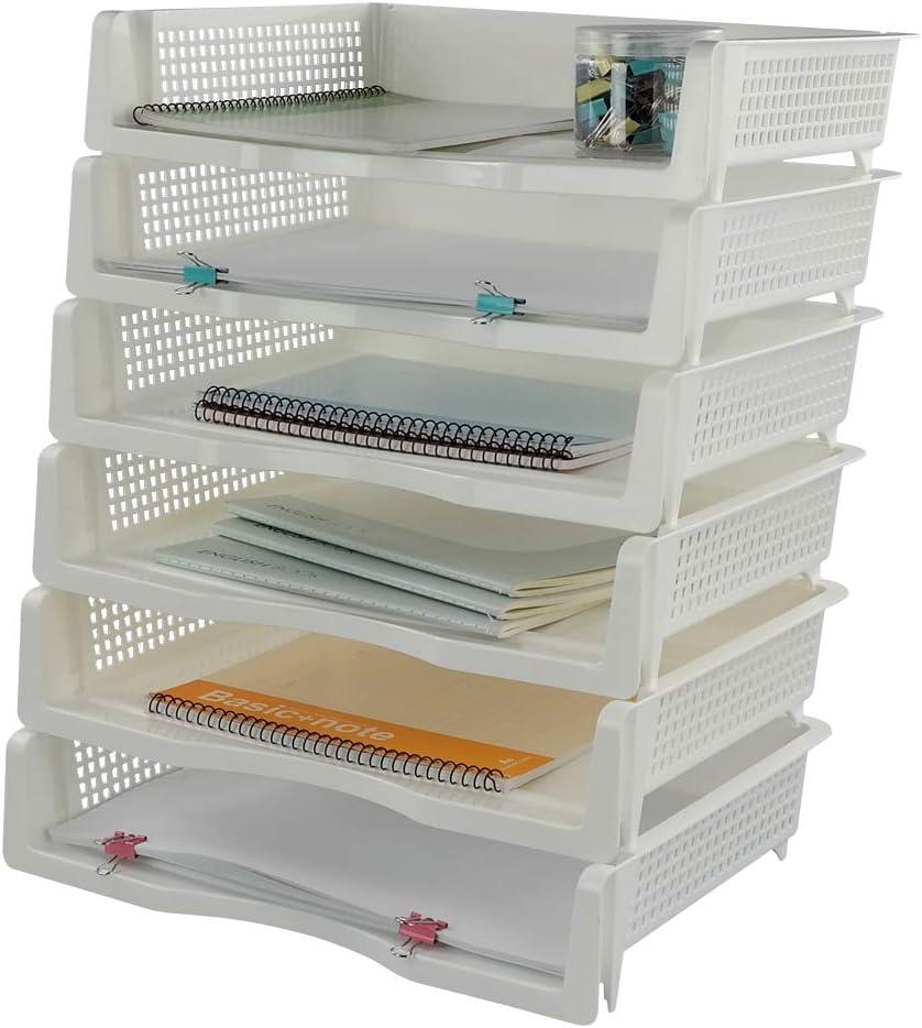 Mayish Organizador Bandeja Apilable de Plástico para Papeles Documentos A4, Color Blanca, 6 Unidades