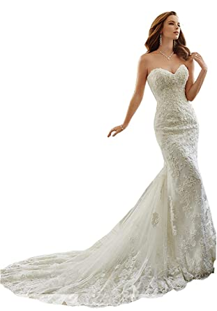 8e5ba72cbcf80 Irenwedding Women's Sweetheart Beading Lace Applique Fishtail Slim Wedding  Dress Ivory US2