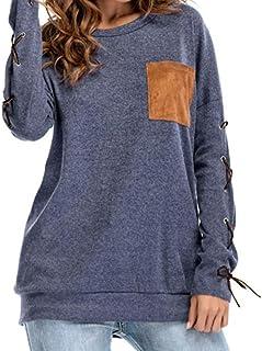 Herbst Oberteil Bluse Bluelucon,Damen Bandage Langarm Tunika Hemd Mädchen Lose Casual Tasche Langarmshirt Tops Bluelucon Damen Langarmshirts Nr.1