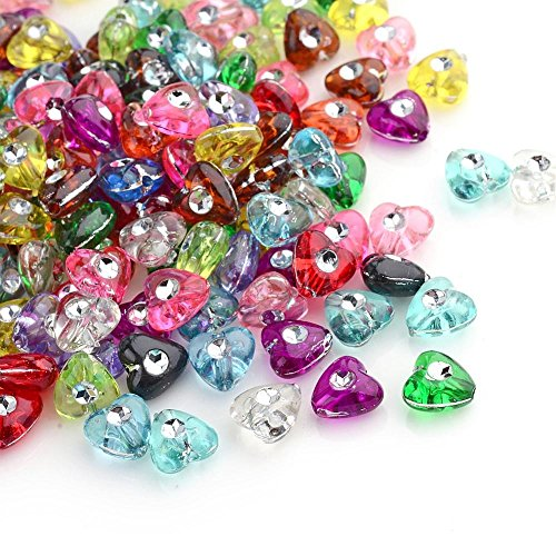 Amz Beads - Package of 300 Beads! Transparent Acrylic Multi-Colored Loose Heart Beads 8mm (Heart Bead)