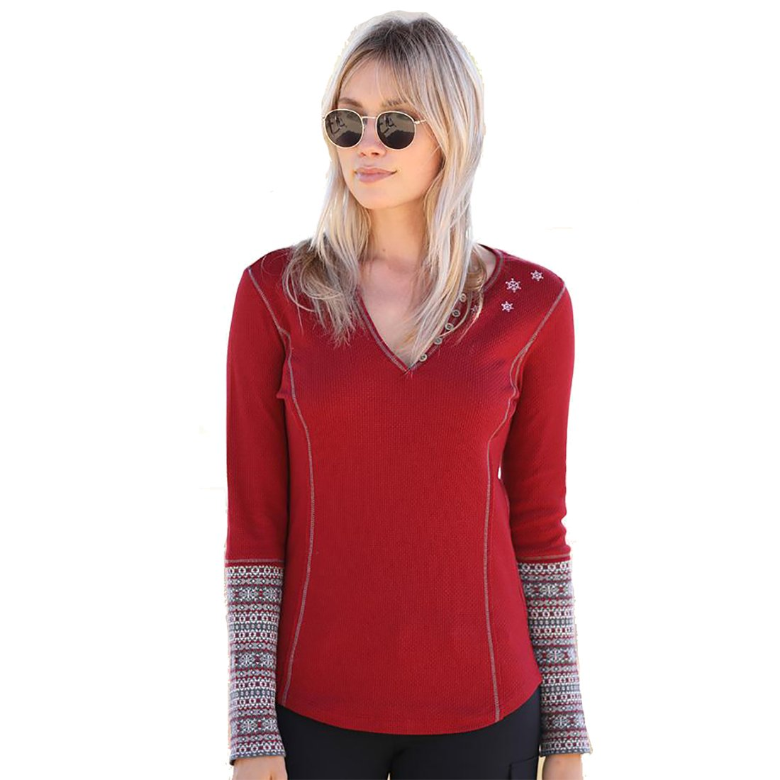 Alp-N-Rock Womens Nieve Thermal Henley Shirt (Dark Red) (Large)