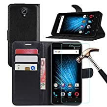 """BLU VIVO XL 2 Leather Wallet Case + Screen Protector, Gzerma Lightweight PU Leather Stand View Feature with Card Slots Cover and Shatter-proof Protective Film for BLU VIVO XL2 - 5.5"""" 4G LTE Smartphone (Black)"""