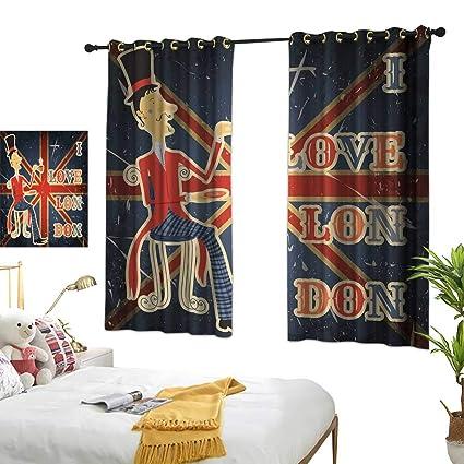 Amazon.com: Unpremoon Bedroom Curtains British,I Love London ...