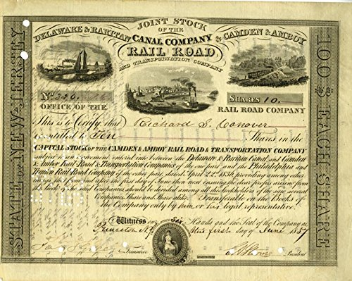 Joint Stock of Delaware & Raritan Canal Company & Camden & Amboy Railroad - signed by E.A. ()