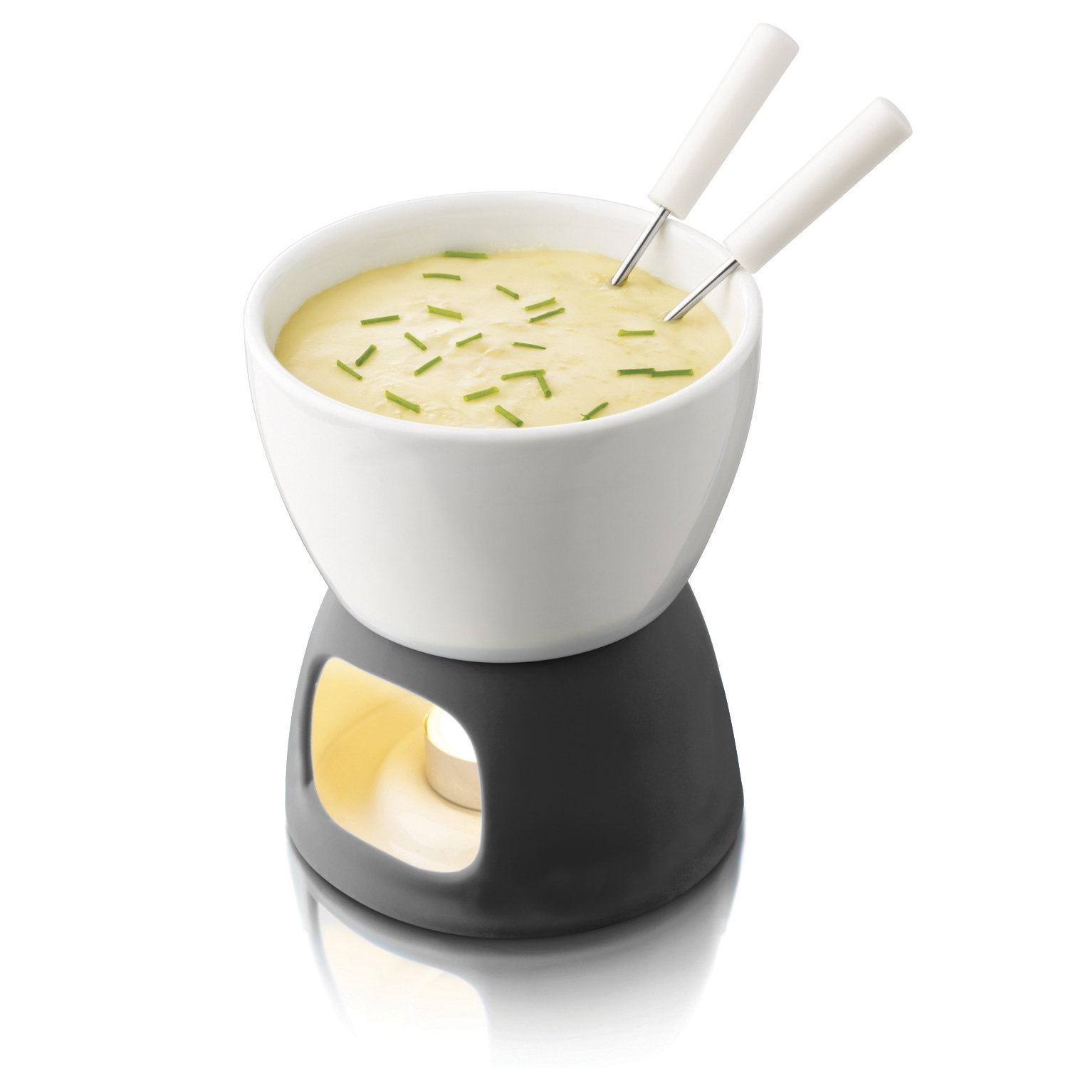 BOSKA Tea Light Tapas Fondue Set for Cheese or Chocolate, Explore Collection, White