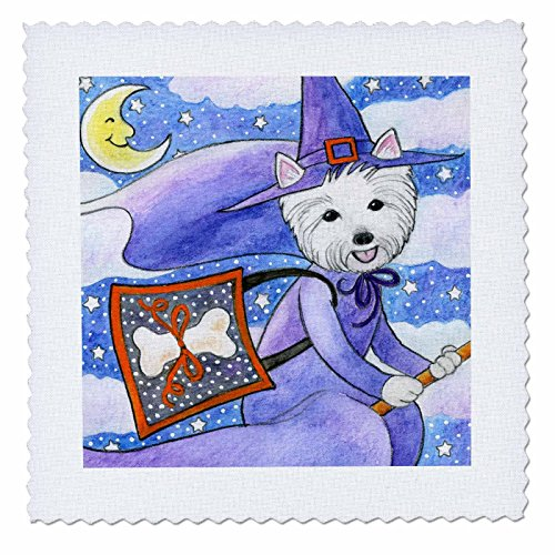 [3dRose qs_23301_1 West Highland Terrier Westie Westie in Costume Witch Halloween Halloween Westie Dog Quilt Square, 10 by 10-Inch] (Westies In Costumes)