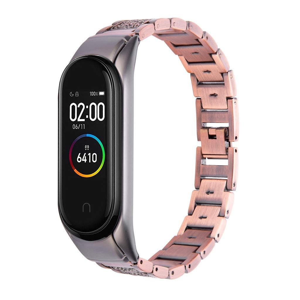 Shan-S Metal Bands Compatible for Xiaomi Mi Band 4 for Women Men, Fashion Retro Stainless Steel Bracelet Replacement Wristband Strap Bangle Compatible for Xiaomi Mi Band 4 Fitness Tracker by Shan-S