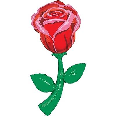 60 Inch Red Rose Fresh Picks Helium Shape Balloon: Toys & Games