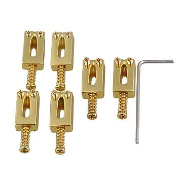 yibuy Golden Metal Trémolo selletas de puente para guitarra eléctrica juego de 6: Amazon.es: Instrumentos musicales