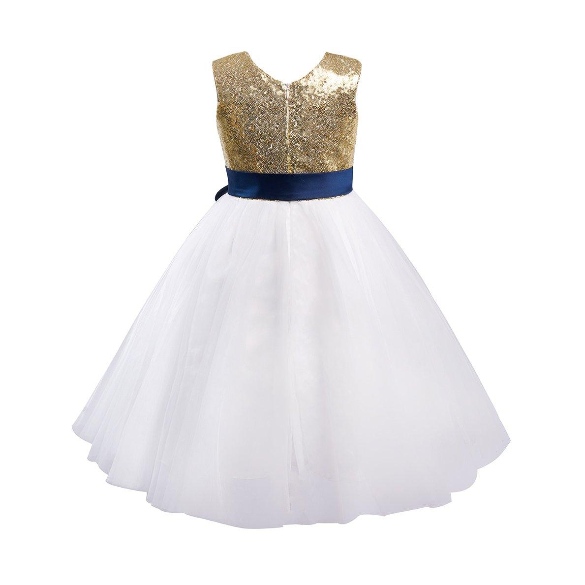 6f47e5b9e66c5 Amazon.com  Miama Gold Sequin Ivory Tulle Wedding Flower Girl Dress Junior  Bridesmaid Dress  Clothing
