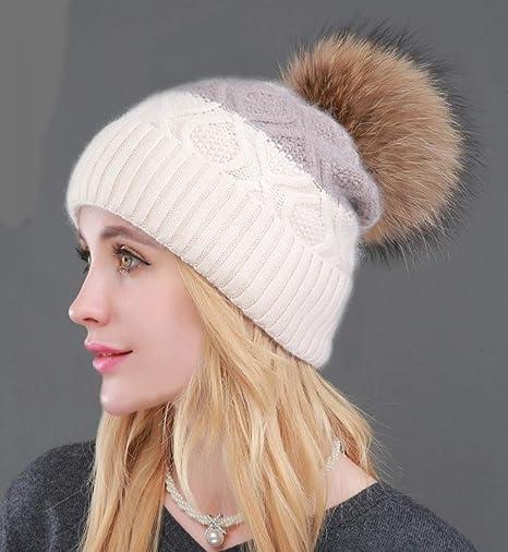 WEEKEND SHOP Beanie Beanie for Women Winter Hat Natural Raccoon Fur Pompon Beanies Women Warm Knitted