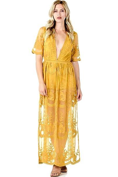Amazoncom Sohcue Womens Deep V Neck Lace Embroidered