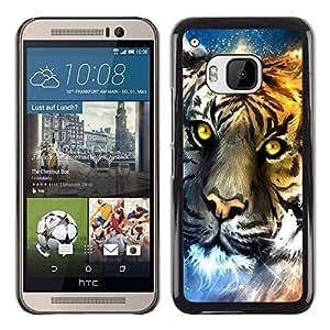 For HTC ONE M9 - Abstract Neon Tiger Colorful Night /Modelo de la piel protectora de la cubierta del caso/ - Super Marley Shop -
