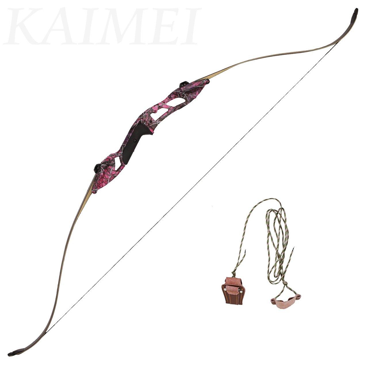 kaimei Hunter Recurve Bow Metal Riser 56 Inch 30-50 lbs Purple Right Hand Long Bow Hunting Target (30lb)