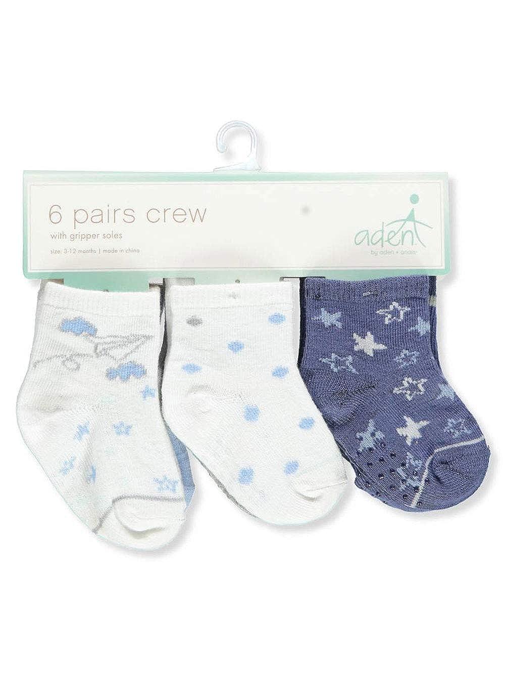 Aden Baby Boys 6-Pack Gripper Crew Socks