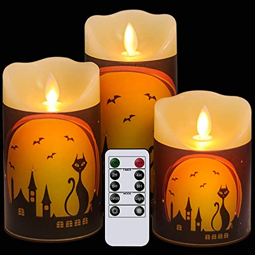 Eldnacele Flameless Flickering Candles with Remote Timer, Moving Wick Battery Operated LED Candles with Festival Decals for Halloween Thanksgiving Christmas Decoration Pack of 3 D3 x H4 5 6
