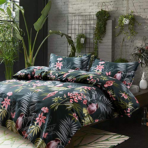 Eikei Palm Leaves Duvet Cover and Pillowcases Set Tropical Exotic Island Flowers Trees Branches Paradise Birds Bedding Jungle Plants Modern Botanical Print Long Staple Cotton (Pine Green, Queen)