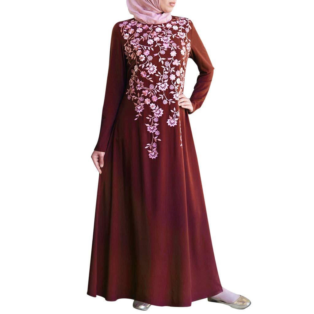 TIFENNY Long Sleeve Muslim Robes for Women Muslim Abaya Long Dress Floral Printed Vintage Kaftan Islamic Maxi Dresses Tops Red