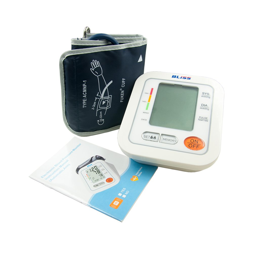 LifeBasis Monitor de Tensión Digital Tensiómetro de brazo electrónico Básico Medir Tensión Arterial Ritmo Cardíaco Hipertensión on Gran Pantalla LCD: ...