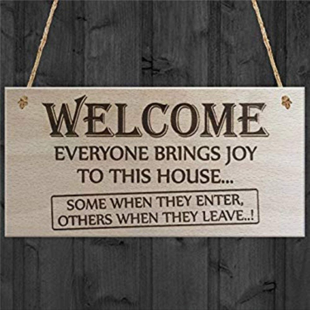 BYRON HOYLE Wooden Plaque Wall Decor Word Signs with Sayings Everyone Brings Joy to This House Novelty Funny Door Sign Wooden Sign Wood Plaque Wall Art Wall Hanger Home Decor