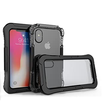 Funda Impermeable Para iPhone X, Electro-Weideworld PC + Silicona Carcasa Anti-agua a Prueba de Golpes Anti-polvo, Anti Choques Waterproof Case Cover ...