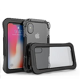 Funda Impermeable Para iPhone X, Electro-Weideworld PC + Silicona Carcasa Anti-agua a Prueba de Golpes Anti-polvo, Anti Choques Waterproof Case Cover ...