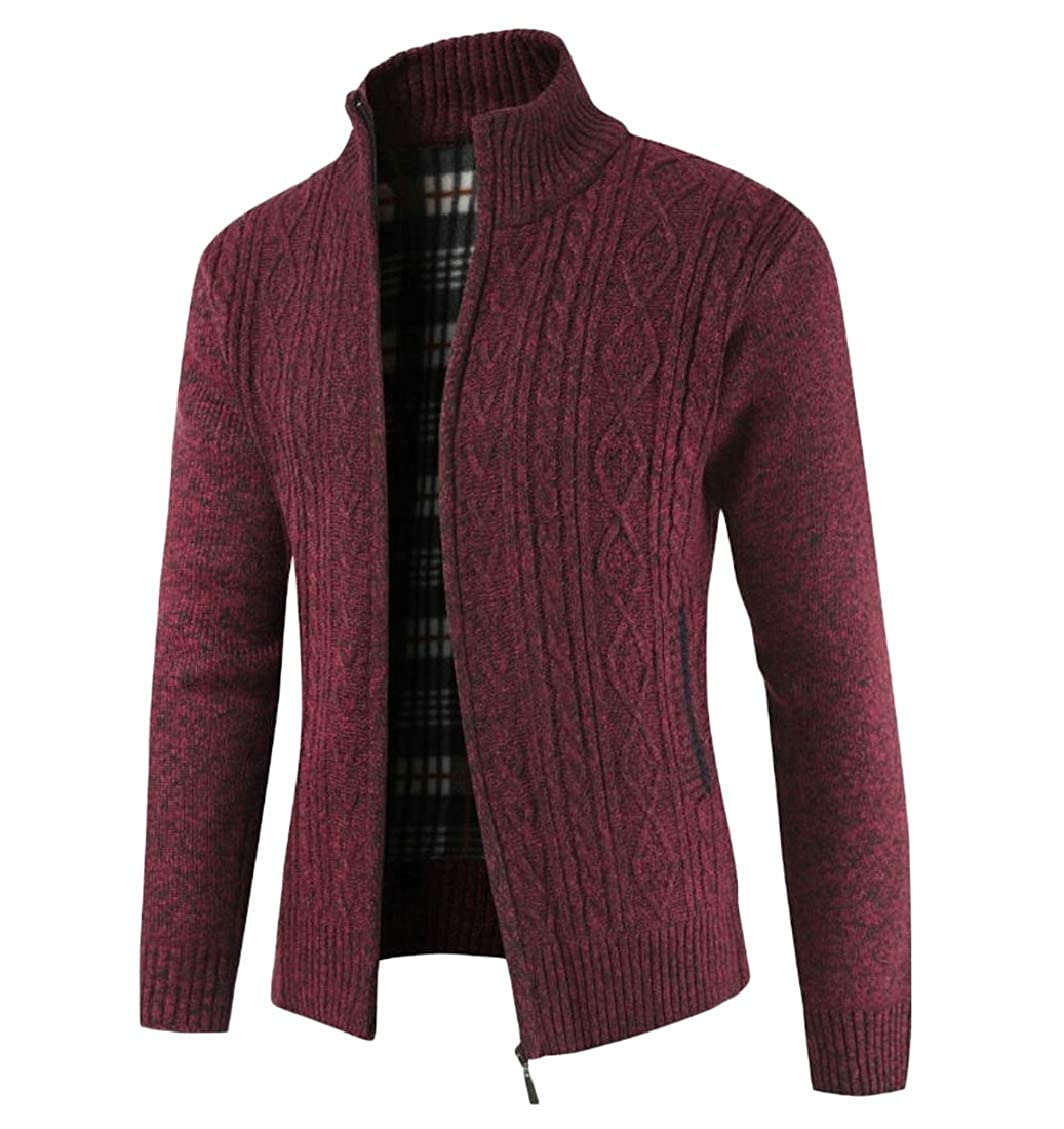Hokny TD Mens Fashion Stand Collar Thick Knitted Full Zipper Cardigan Sweaters
