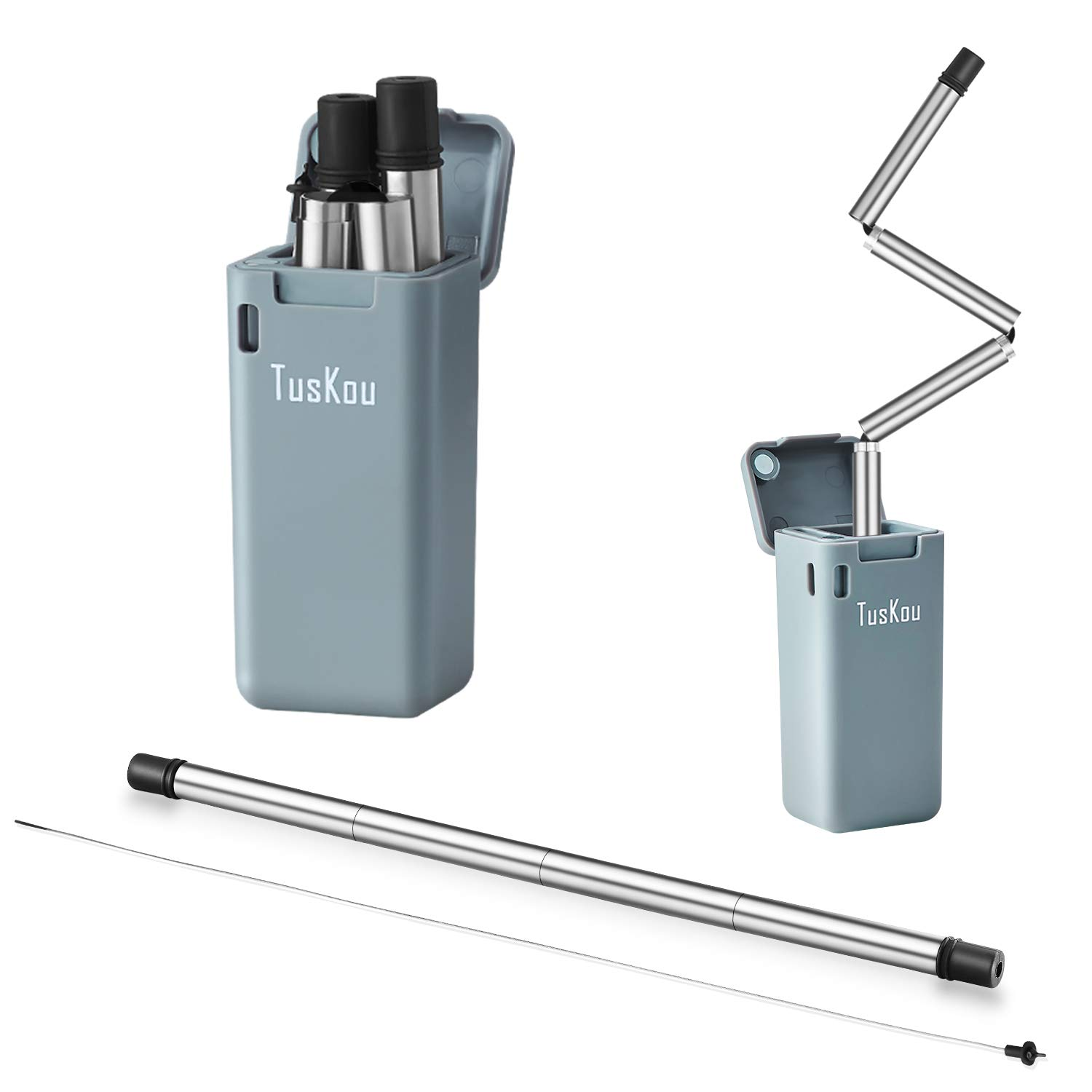 Folding Drinking Straw Stainless Steel, TusKou Final Collapsible Reusable Stainless Straw Food-Grade Drinking Straws Portable with Hard Case Cleaning Brush (Gray, 1)