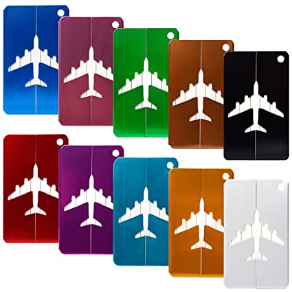 e25745733ff5 10Pcs Airplane Luggage Tags, CJRSLRB Aluminium Alloy Baggage Suitcases Name  Labels Travel Bag Tags (10 Color)