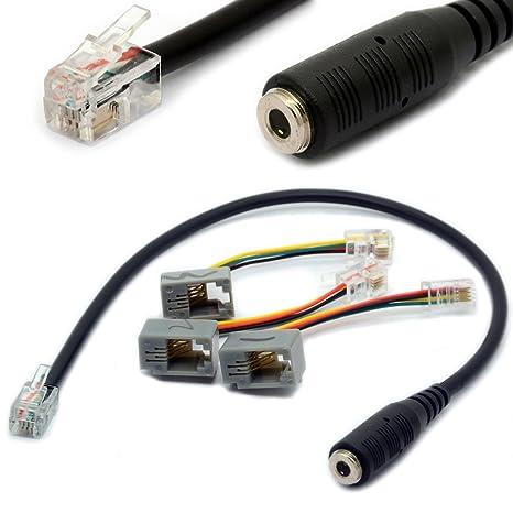 4P4C RJ9 / RJ10 a 3.5mm hembra adaptador de auriculares Cable estéreo convertidor de teléfono para iPhone Teléfonos IP de Cisco 7931G 7940 7941 7942 ...