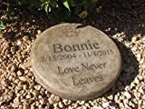 Personalized Engraved Pet Memorial Step Stone 7.5'' Diameter ''Lover Never Leaves'
