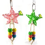 Sanwooden Funny Parrot Chewing Toy Colorful Bead Bird Five-Point Star Shape Cage Swing Chewing Climbing Parrot Toy Pet Supplies