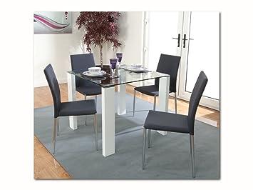 Schon The One Weiß Dining Set Tisch 90 Cm X 90 Cm Mit 4 Grau Stoff Chrom