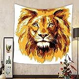 Gzhihine Custom tapestry Animal Tapestry Safari Decor Illustration of the Lion King Biggest Cat in Africa Icon Animal in Tropics Artwork Theme Bedroom Living Room Dorm Tapestry Orange White