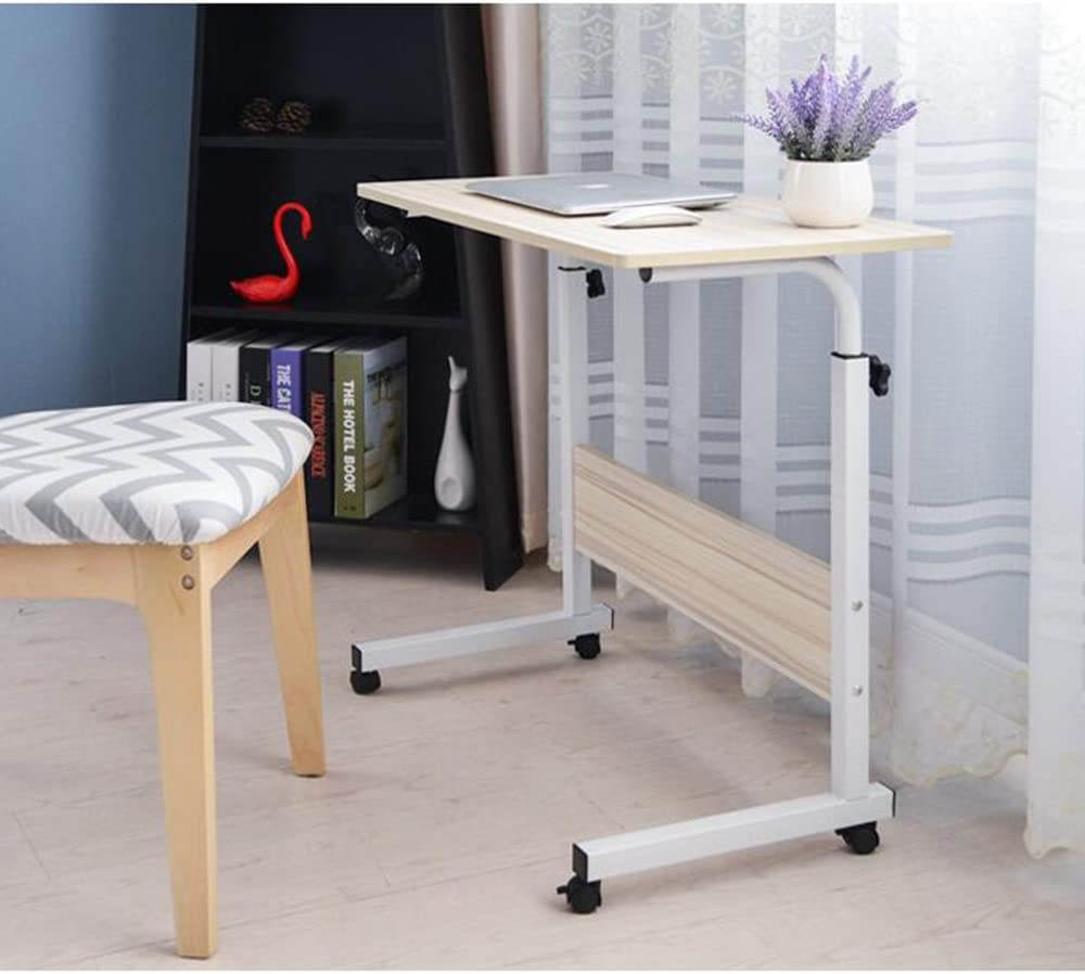SogesGame Side Table with Wheels, Home Snack Side Table with Castors Mobile (Maple)